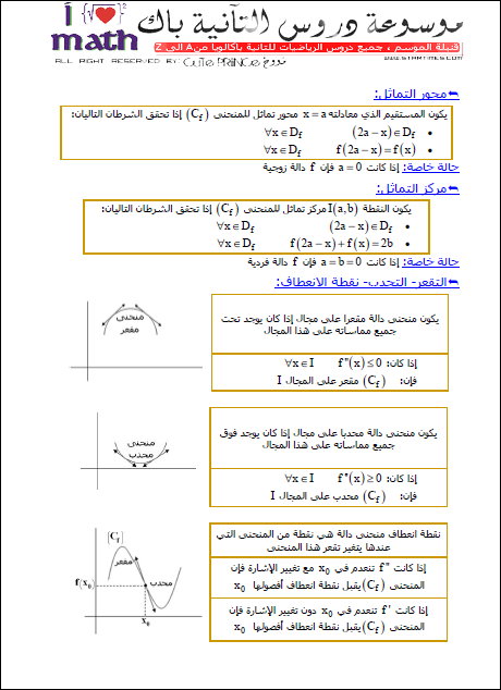 محور التماثل – مركز التماثل – نقطة الإنعطاف